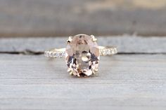 14k Yellow Diamond Oval Morganite Engagement Wedding Anniversary Love Ring Band Dainty Vintage Art Deco Simple 11x9 Solitaire
