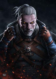 GERALT of RIVIA - The WitcheR 3: Wild Hunt (+video), Sadece Kaan on ArtStation at https://www.artstation.com/artwork/YBzKX