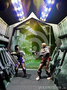 Cosmonaut with his suit and gun, facing an armed alien in a futuristic spaceship corridors.