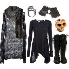 tell death i said hi by n-nyx on Polyvore featuring ISABEL BENENATO, DRKSHDW, Eilisain Jewelry, Faliero Sarti and Une