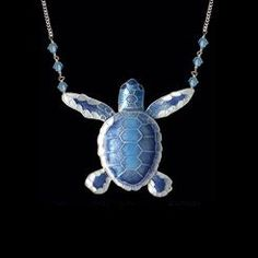 This handcrafted enamel on sterling silver (cloisonne) Blue Flatback Hatchling Turtle Large Necklace makes a great gift for the turtle lover who appreciates fine artistic jewelry.