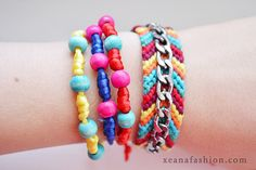 Braided bracelets with beads     Tags: #accessories, #bright, #colorful #craft, #DIY, #handmade,  #craft, #creation, #bracelet, #beads