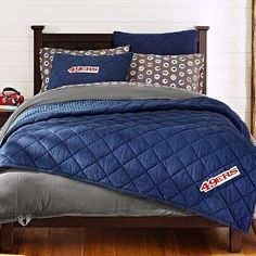 NFL Chenille Patch Twin Quilt + Sham   pbteen (Grey, bears $140)