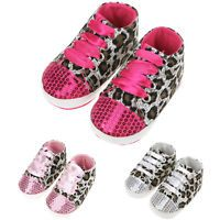 Newborn to 18 Months Infant Baby Boy Girl Leopard Crib Shoes Soft Sole Sneaker
