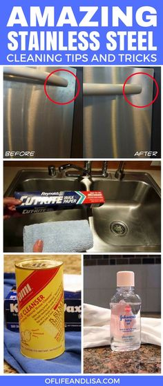 These are the BEST tips on cleaning stainless steel that I have ever seen. I really got to try this and find that cleaner she talked about in this article. I keep hearing good things about it. REPIN and SHARE with your followers :) #cleaning #home #hacks #tips #cleaninghacks #momlife #mom #sahm #wahm