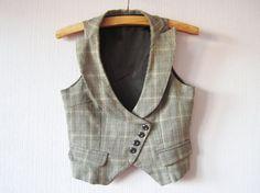 Plaid Womens Vest Gray Beige Checkered Steampunk Waistcoat Suit Collar Edwardian Renaissance Baroque Victorian Small