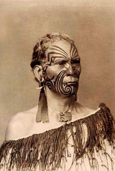 New Zealand | Portrait of Rangitupu Take (Maori chief), taken by W H T Partington.  Early 20th century