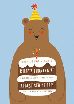 Birthday Bear Children's Birthday Party Invitations by Angela Thompson at minted.com