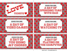 Addison's Love Tickets.  Great for any boy. -Paper and Pi
