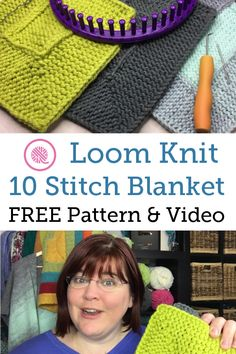 New & Improved Easy Ten Stitch Blanket Pattern for Loom Knitters. Free pattern and videos for both right- and left-handed loomers. http://www.goodknitkisses.com/loom-knit-ten-stitch-blanket/ #goodknitkisses #loomknitting #loomknit #tenstitch