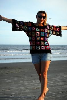 Unique crochet sweater with granny squares by Iryna on Etsy