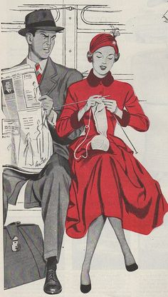 """Don't be a Knitwit"" illustration accompanying a piece about obsessive knitting in 1948.   What's his problem?"