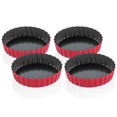 KÜCHENPROFI Tarteletteform 4 Stück mit Hebeboden rot