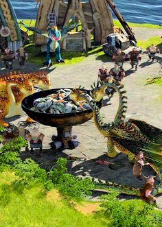 dragon feeding station in Berk village