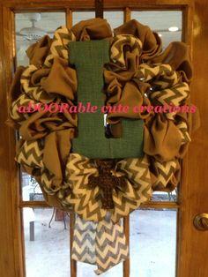 Burlap wreath with chevron https://www.facebook.com/AdooRableCuteCreations?ref=hl