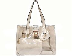 CREAM DESIGNER STYLE CLEAR TRANSPARENT MULTI-COMPARTMENT HANDBAG WITH MATCHING PURSE, £28.99