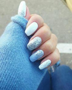 White, light blue, glitter - silver gel nails