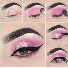 Stunning Eye Make-Up Tutorials! Awesome eye make-up tutorials for our girls! Pink Eye Makeup, Makeup Eye Looks, Dramatic Eye Makeup, Eye Makeup Steps, Colorful Eye Makeup, Simple Eye Makeup, Cute Makeup, Eyeshadow Looks, Makeup Eyeshadow