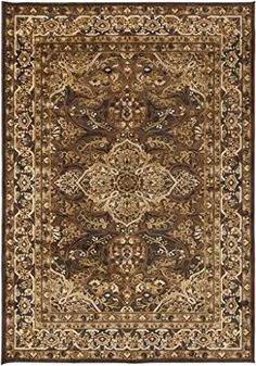 Surya Basilica BSL7202 Classic Machine Made 60 Viscose  40 Acrylic Chen Dark Brown 52 x 76 Traditional Area Rug >>> Find out more about the great product at the image link.