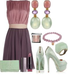 """Pink Opal, Amethyst and Prenite"" by stay-at-home-mom on Polyvore"