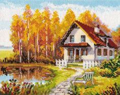 Cross Stitch House, Cross Stitch Fabric, Cute Cross Stitch, Modern Cross Stitch, Cross Stitch Embroidery, Cross Stitch Patterns, Hand Embroidery, Cross Stitch Landscape, Loom Beading