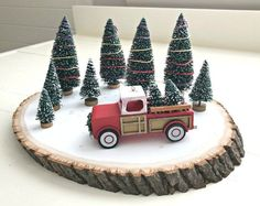 Quick and Easy Red Truck DIY Christmas Centerpiece | Abbotts At Home - Featured at the Home Matters Linky Party 164