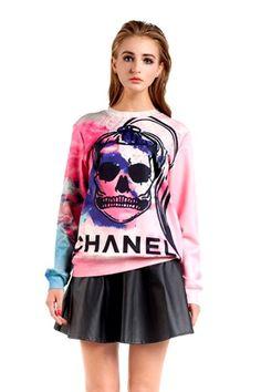 3D Ponytail Spoof #Skull Print Sweatshirt