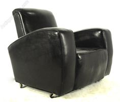 Pair of Black Leather Art Deco club chairs
