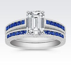 Round Sapphire Wedding Set with Channel Setting with Emerald Cut Diamond from Shane Co. Available with your choice of ruby, diamond or sapphire center stone.