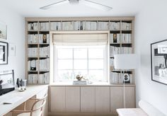 Anne Sage Reveals Her Home Office Makeover Home Office Design, Home Office Decor, Home Design, Home Decor, Design Design, Built In Desk, Built Ins, Linen Roman Shades, Home Interior
