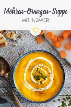 Möhren-Orangen-Suppe-mit-Ingwer – ein köstlicher Seelenwärmer, der dich ganz … Carrot-orange-soup-with-ginger – a delicious warmer, which also supplies you with plenty of vitamin C by the way. Soup Recipes, Vegan Recipes, Diet Recipes, Healthy Meals For One, Easy Meals, Carrot And Orange Soup, Vegetable Protein, Eating Organic, Vegan Soup