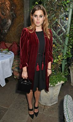 Princess Beatrice of York made a post-royal wedding appearance at the Annabel's x Dior dinner in London on May 21, wearing a little black dress and red velvet coat.