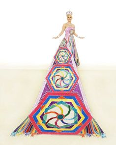 Jennifer Laurence Orr, Duchess of Whimsical Kites: Kites flown on Good Friday in Bermuda are represented on this lavender satin train and gown, the latter bordered with stripes set off by crystal rhinestone chain. The kite on the bodice is repeated on the train using hexagonal patterns covered with beads and crystal jewels. She is the daughter of Mr. and Mrs. Robert Collins Orr Jr.