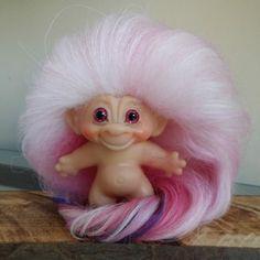 Vintage 1960's DAM Troll Doll Dam Pink Blue Fuchsia Mohair & Sparkle Glass Eyes #Dam #Dolls