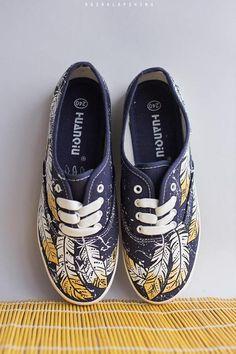 1b9ea15185 Hand painted Women Boho-style Canvas Shoes Bohemian Sneakers