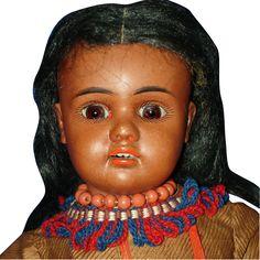 Black #277 Bahr & Proschild Bisque Indian Doll Original Germany 1891