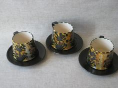 3 Newlyn Celtic Pottery Cups and Saucers by TheKnally on Etsy