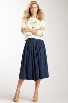 Rouched calf-length skirt and sweater