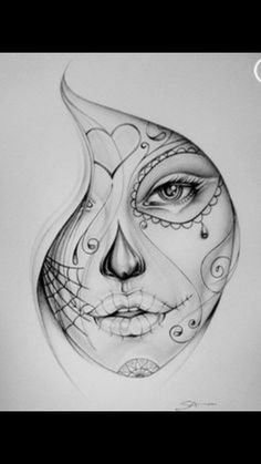 Women face pencil drawing