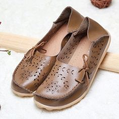 Plus Size Hollow Out Lace Up Loafers - CAMEL BROWN