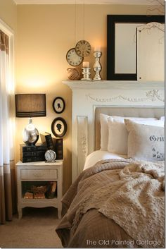 fireplace mantel over headboard with mirrors, like hanging clocks, and in other picture I like curtains - cheesecloth or light linen?