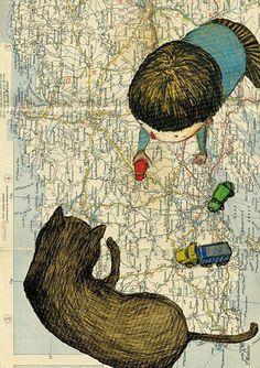 Delphine Vaute // illustration with playing child and cat on a map Illustration Inspiration, Children's Book Illustration, Illustration Mignonne, Art Beat, Art Carte, Art Graphique, Art Design, Art Plastique, Anime Comics