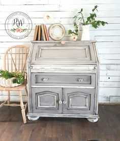 Shabby writing desk grey and white from roseberry workshop