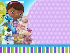 Doc McStuffins fixes broken toys in her backyard playhouse clinic with the help of her friends Hallie, Lambie, Chilly, and Stuffy. It's time for your check-up with Doc! Write a prescription for enjoyable with our Doc McStuffins occasio Printable Invitation Templates, Printable Birthday Invitations, Doc Mcstuffins Birthday Party, Party Fiesta, 3rd Birthday, Templates Free, Backyard Playhouse, Birthday Background, Check