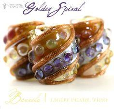 new auction! Handmade Glass Lampwork Beads Golden Spiral Barrels Light Pearl by Radiantmind | eBay