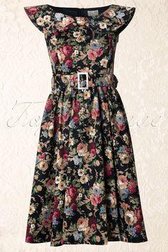 Lindy Bop - 1950s Hetty Swing Dress in Floral Black