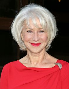 Dame Helen Mirren in a layered bob with bangs.