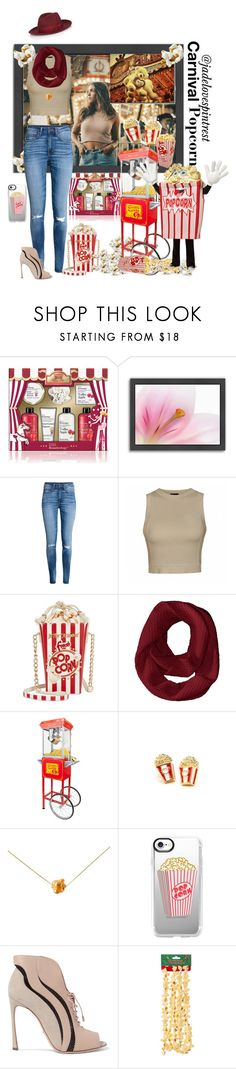 """Carnival popcorn"" by jadelovespintrest ❤ liked on Polyvore featuring Baylis & Harding, Americanflat, H&M, Ally Fashion, Betsey Johnson, Funtime, Glenda López, Casetify, Sergio Rossi and Kurt Adler"