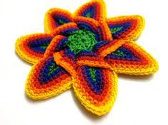 Crochet Flower Applique  Rainbow by slappytheseal on Etsy, $5.00