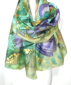 Your place to buy and sell all things handmade Painted Silk, Hand Painted, French Silk, Handmade Scarves, Silk Shawl, Gold Silk, Long Scarf, Silk Painting, Silk Scarves